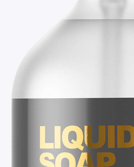 Clear Frosted Liquid Soap Bottle with Pump Mockup