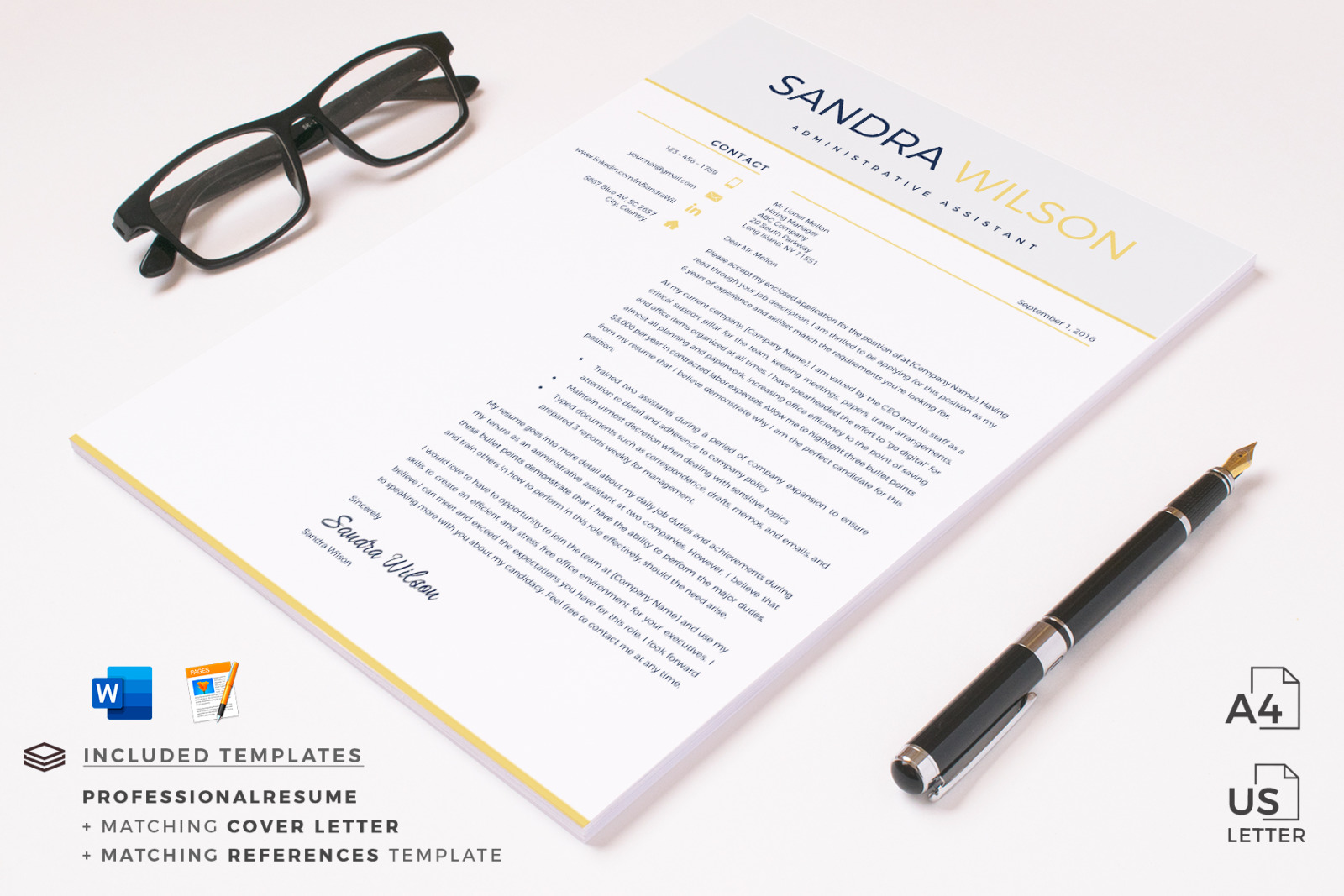 modern resume template in word  docx  and iwork pages