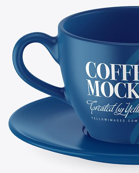 Ceramic Coffee Cup w/ Plate Mockup