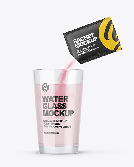 Sachet With Powder & Water Glass Mockup