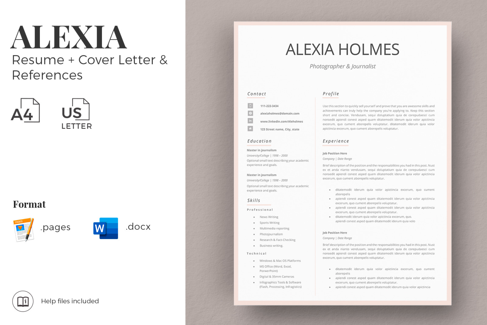 modern resume design   cover letter example   references