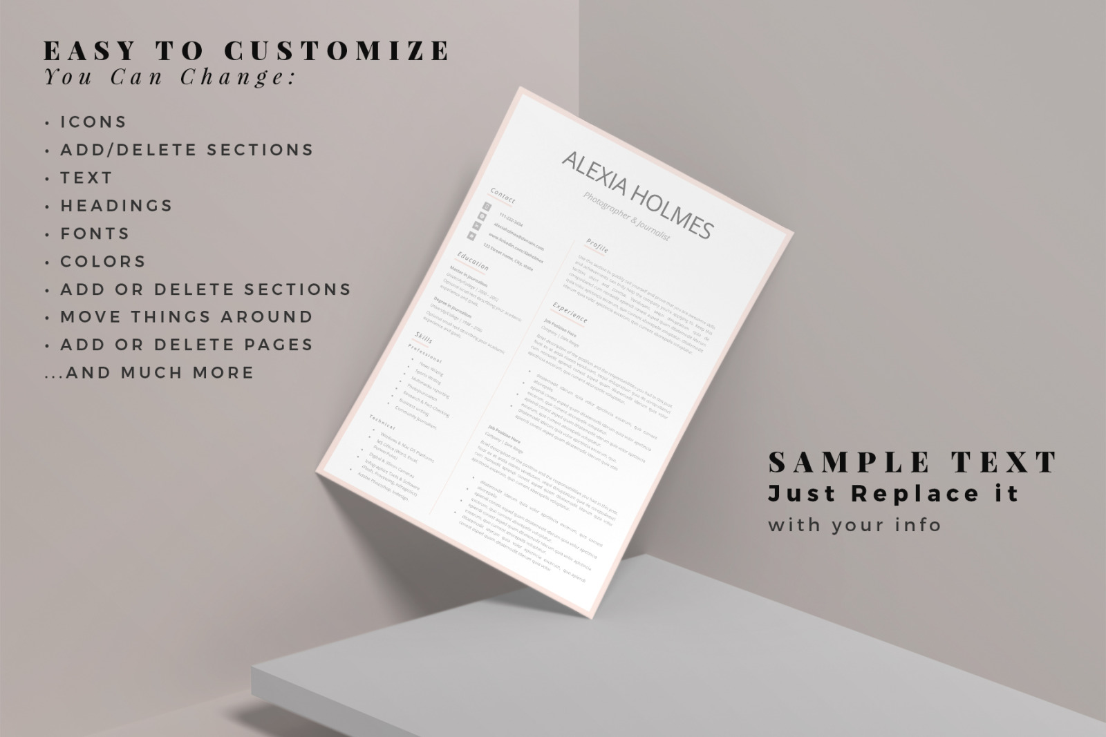 Modern Resume Design + Cover Letter Example + References ...