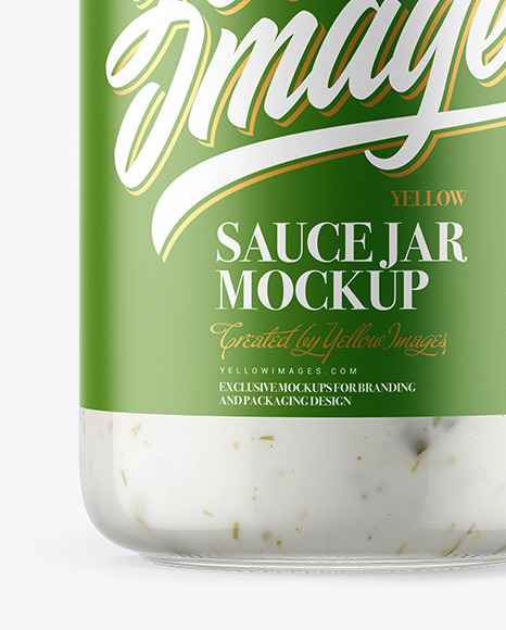 Clear Glass Jar with Garlic Sauce Mockup