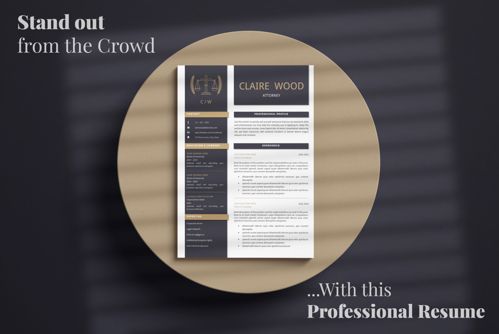 lawyer resume template for ms word and pages  attorney resume   cover letter   references
