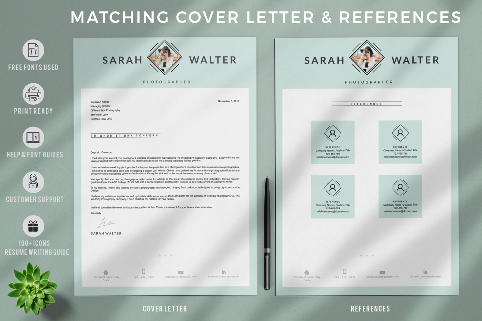 Modern And Creative Resume Template For Pages Ms Word Resume Cover Letter Format References In Resume Templates On Yellow Images Creative Store