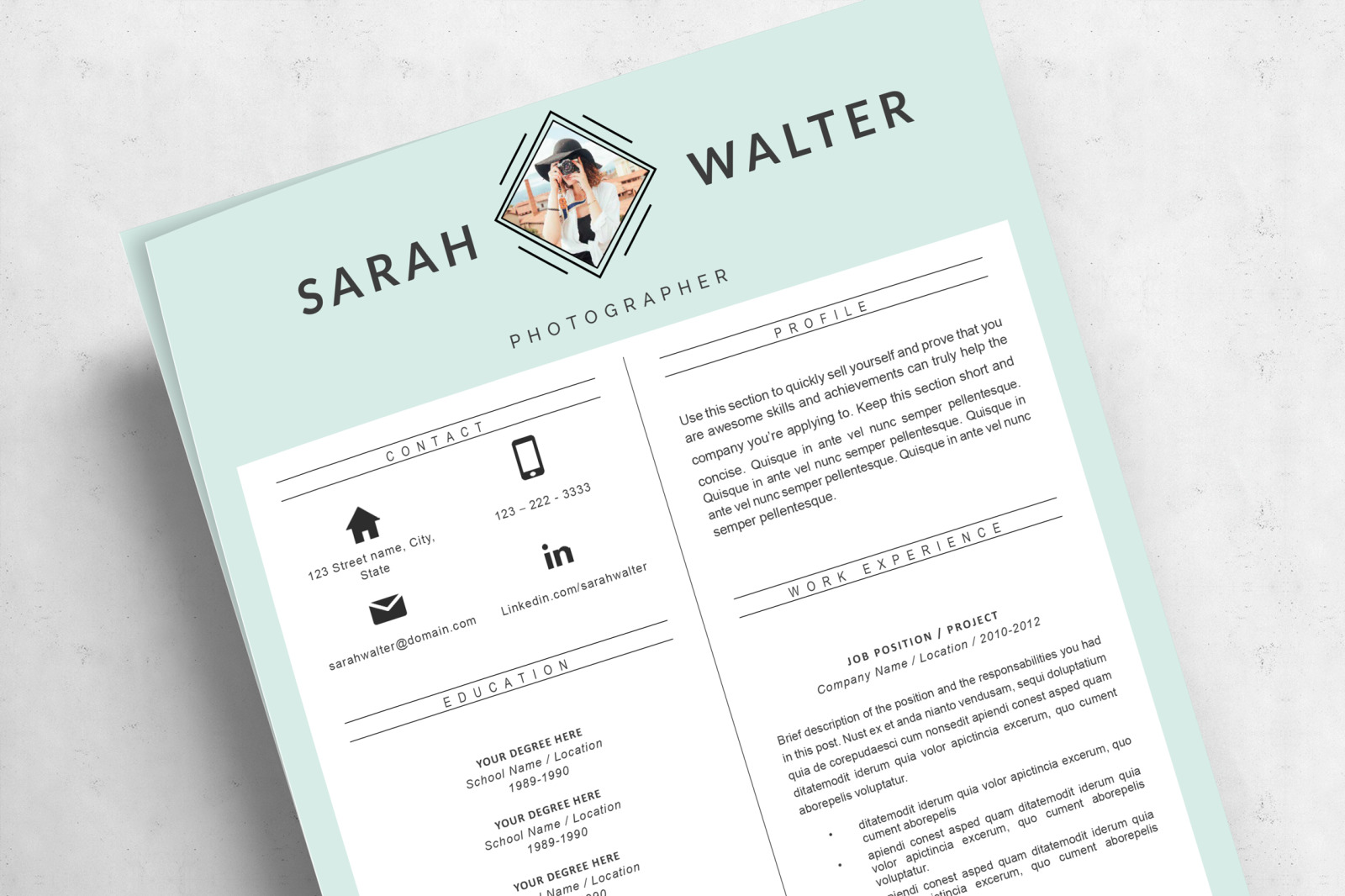 modern and creative resume template for pages  ms word