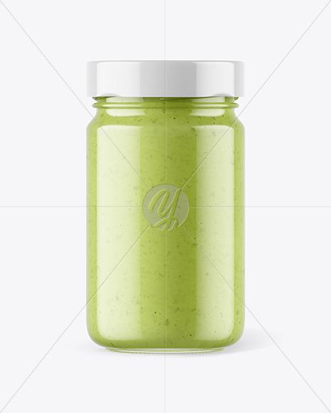 Clear Glass Jar with Wasabi Sauce Mockup