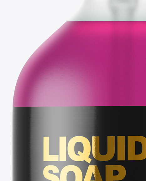 Frost Liquid Soap Bottle with Pump Mockup