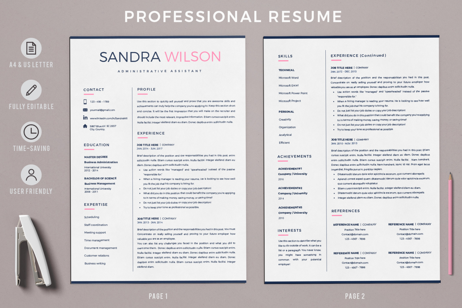 Resume Template Creative for MS Word (docx) and iWork Pages. 2 and 3 Page Resume, CV + Cover Letter