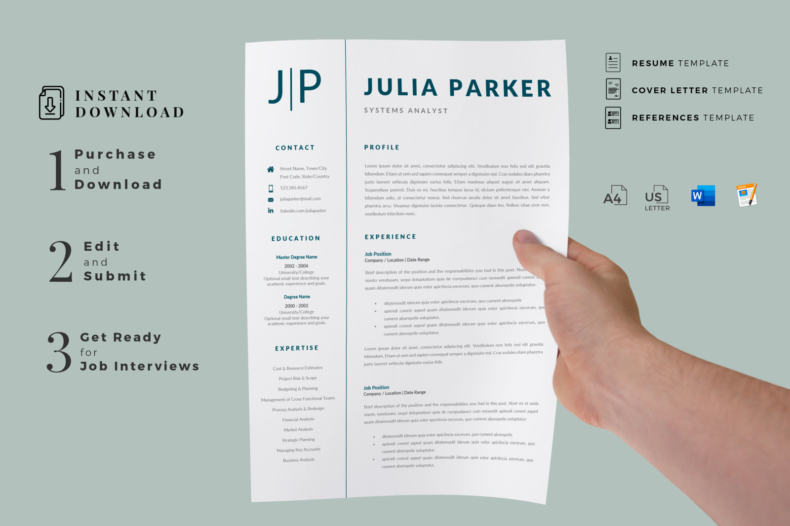 Cover Letter Template for Resume, References and ...