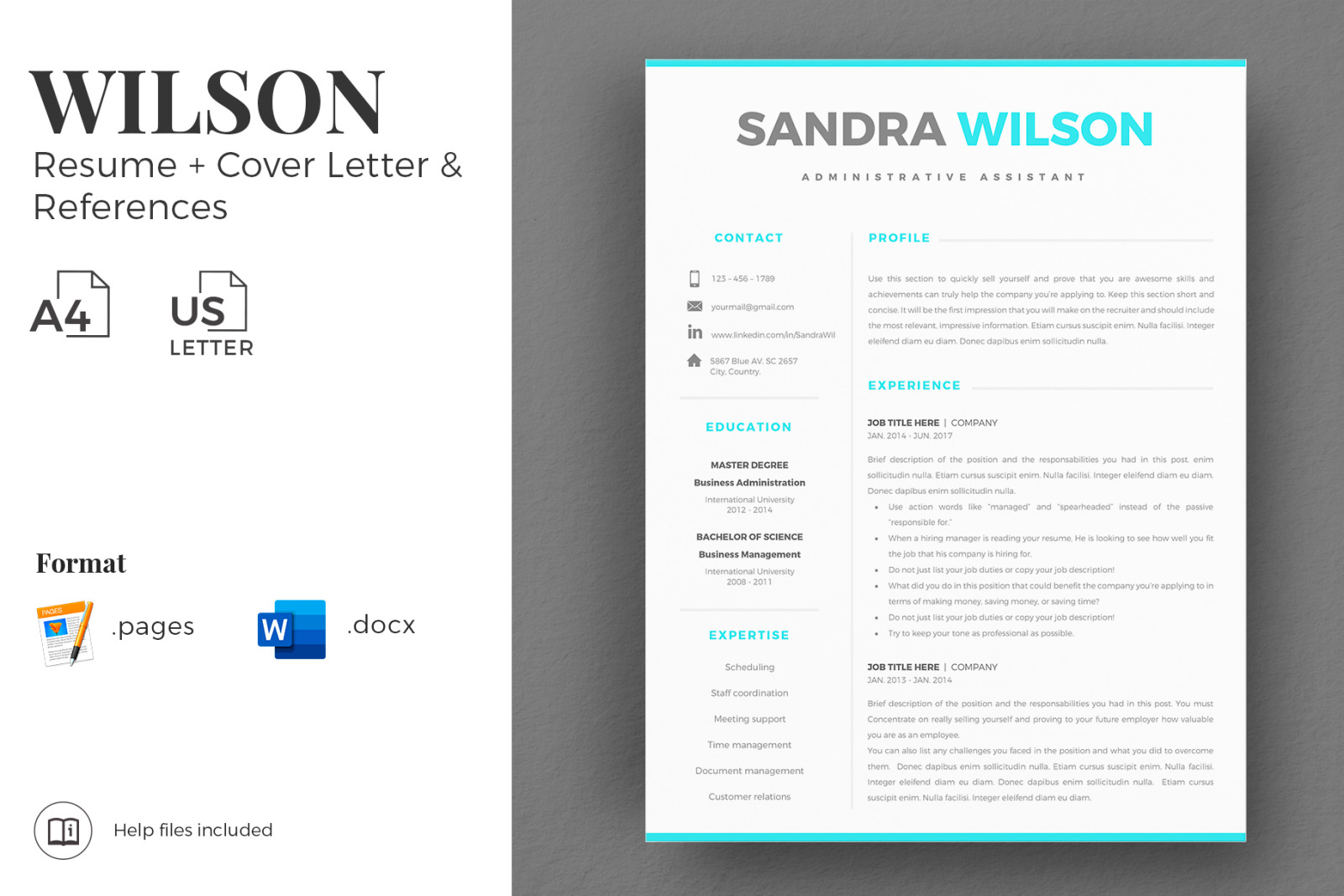 2 3 Page Resume Template Bundle Matching Cover Letter References Social Icon Set In Resume Templates On Yellow Images Creative Store
