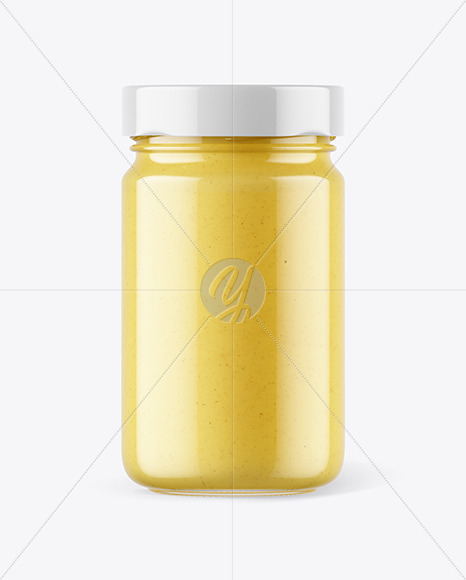 Download Clear Glass Jar With Wholegrain Mustard Mockup Front View PSD - Free PSD Mockup Templates