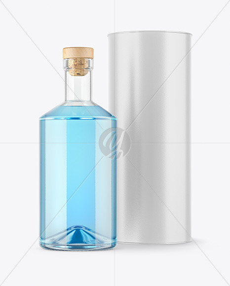 Clear Glass Gin Bottle with Tube Mockup