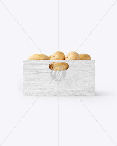 Crate with Potatoes Mockup - Side View