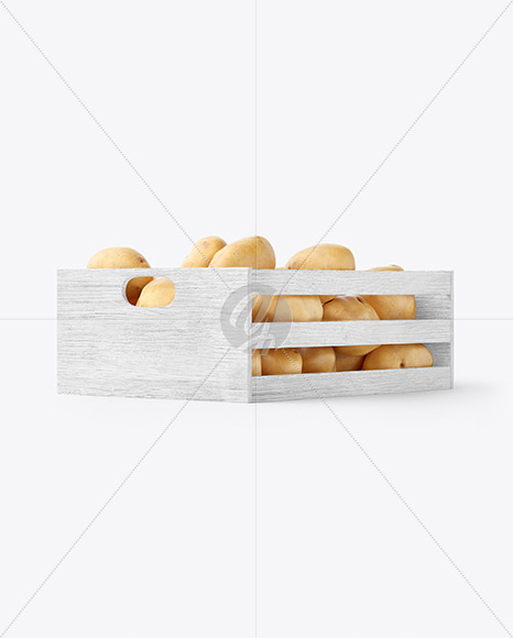 Crate with Potatoes Mockup - Half Side View