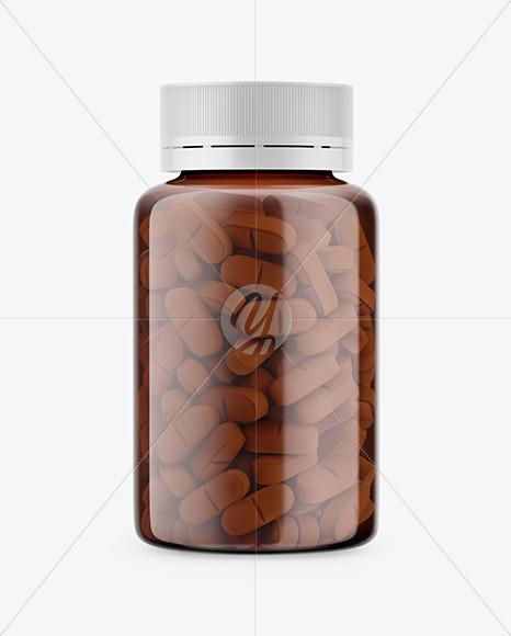 Amber Bottle With Pills Mockup