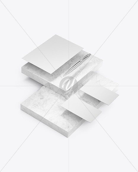 Two Business Cards & Paper with Marble Mockup