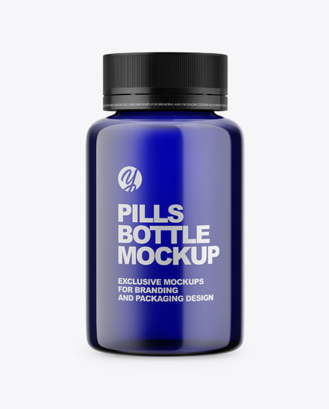 Blue Pills Bottle Mockup