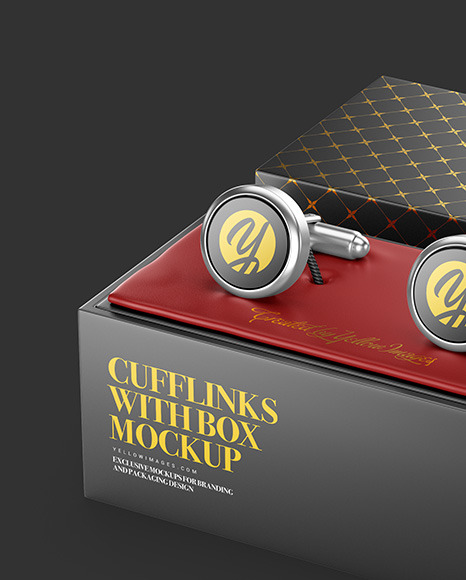 Cufflinks with Box Mockup