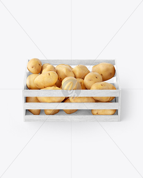 Crate with Potatoes Mockup - Front View