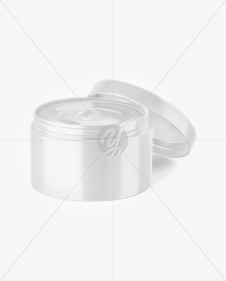 Opened Glossy Plastic Cosmetic Jar Mockup - Front View (High-Angle Shot)