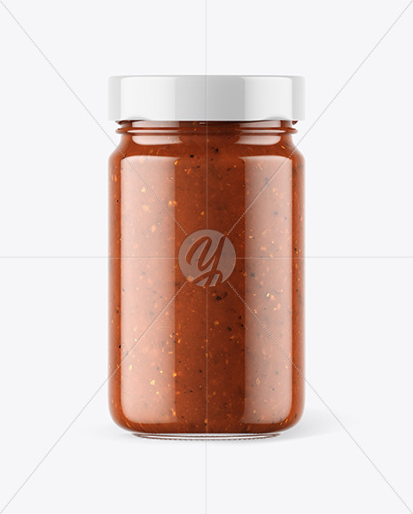 Clear Glass Jar with Sweet Chili Sauce Mockup