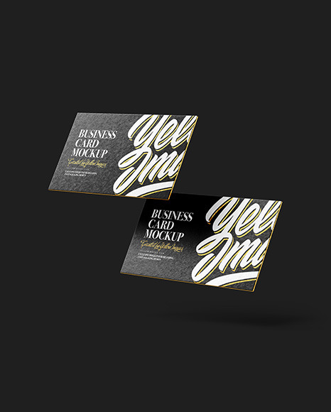 Two Paper Textured Business Cards Mockup