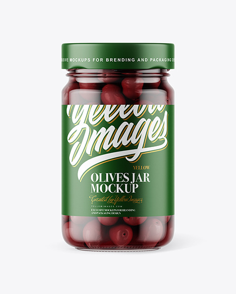 Clear Glass Jar with Kalamata Olives Mockup