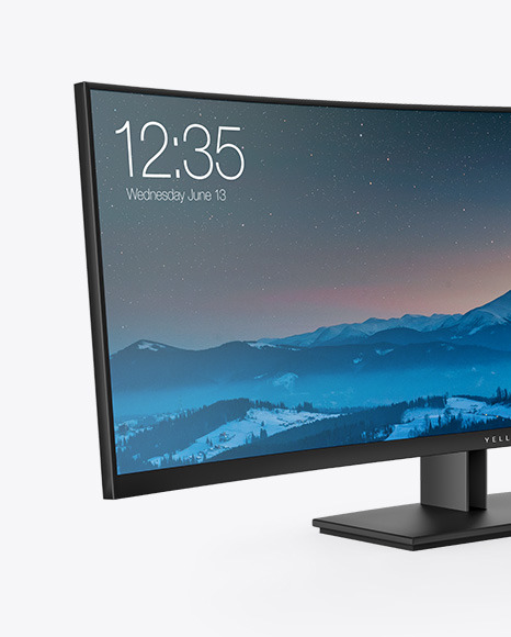 Curved Ultrawide Monitor Mockup - Half Side View