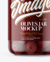 Clear Glass Jar with Kalamata Olives Mockup