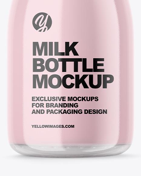 Clear Glass Dairy Bottle Mockup