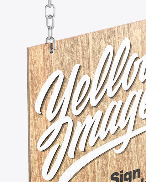 Wooden Sign w/ Metallic Chain Mockup