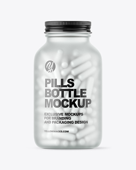 Frosted Glass Pills Bottle Mockup