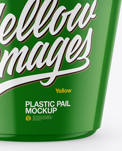Glossy Plastic Pail Mockup