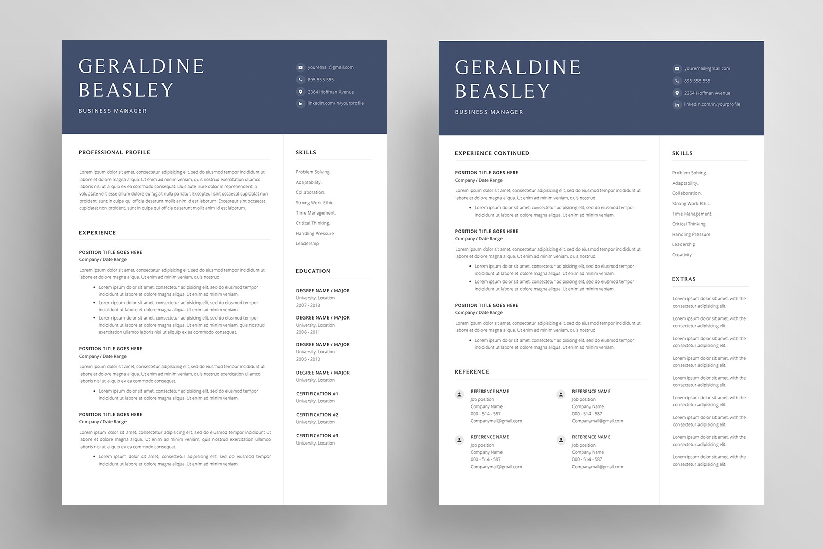 Resume Template And Cover Letter Cv 4 Pages In Resume Templates On Yellow Images Creative Store
