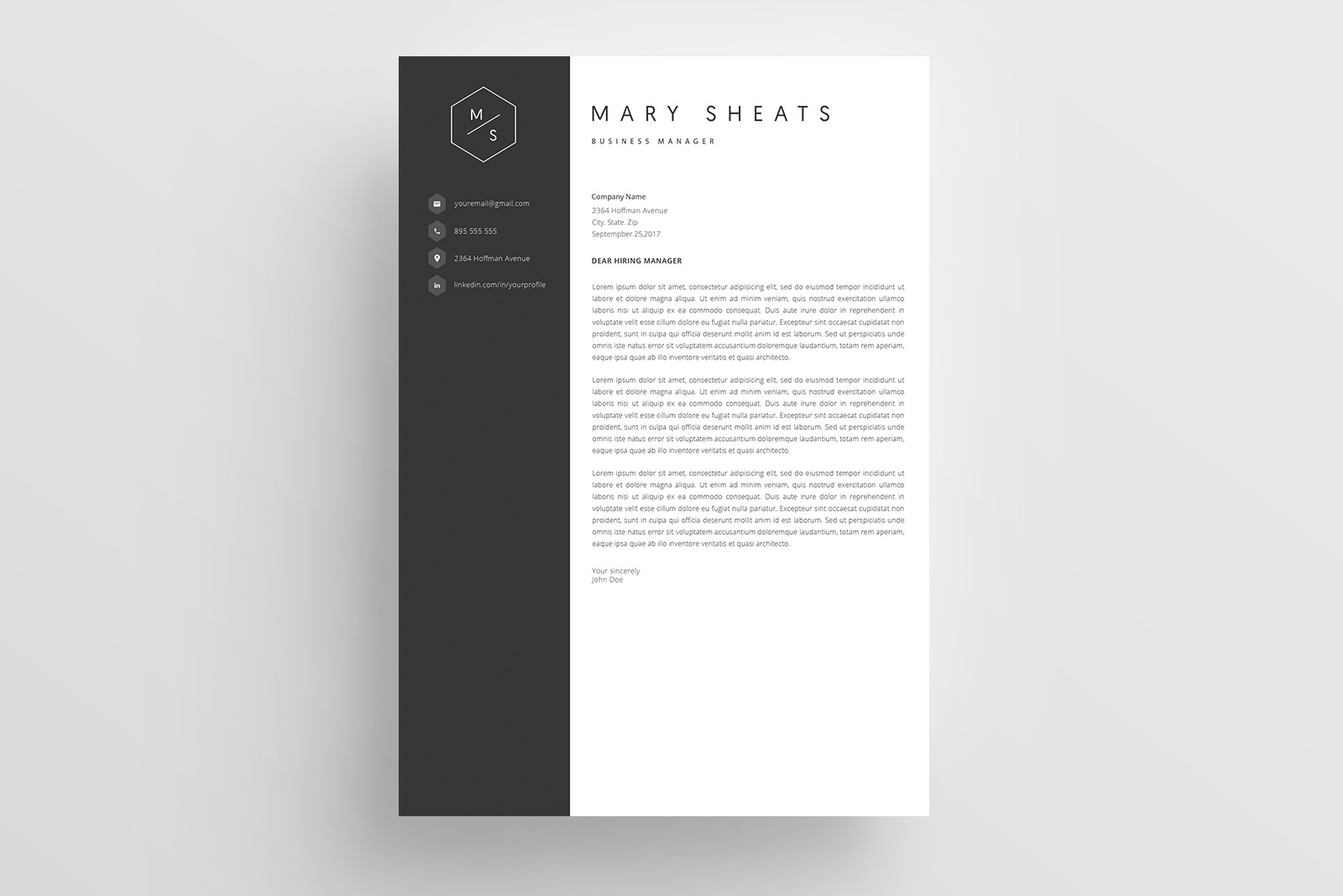 Resume Template and Cover Letter / CV / 4 Pages