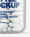 Clear Glass Pills Bottle Mockup