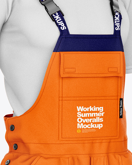 Working Overalls Mockup – Front Half Side View