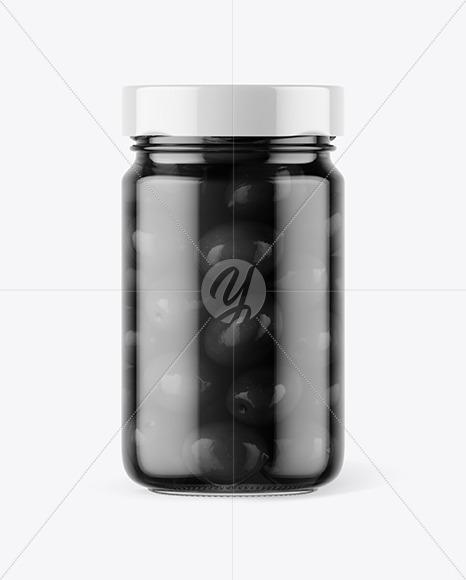 Clear Glass Jar with Black Olives Mockup