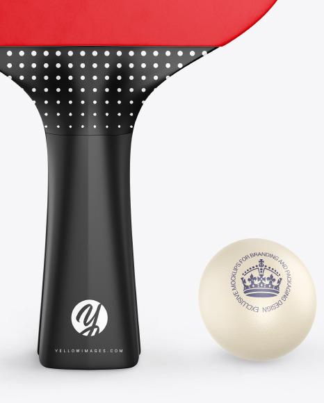 Ping-Pong Paddle w/ Ball Mockup