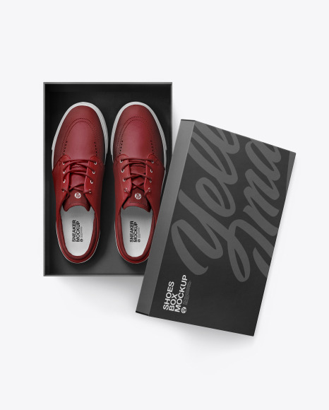 Sneakers Shoes w/ Box Mockup