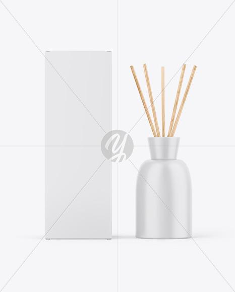 Matte Diffuser Bottle W/ Paper Box Mockup