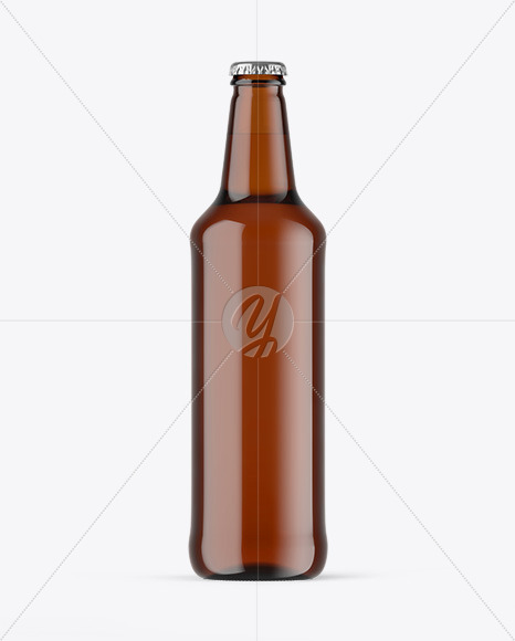 Amber Glass Beer Bottle Mockup