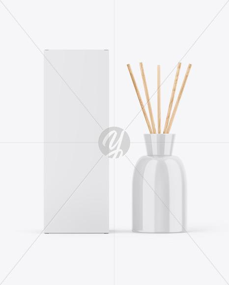 Glossy Diffuser Bottle W/ Paper Box Mockup