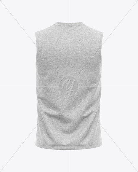 Men's Heather Sleeveless Shirt Mockup - Back View