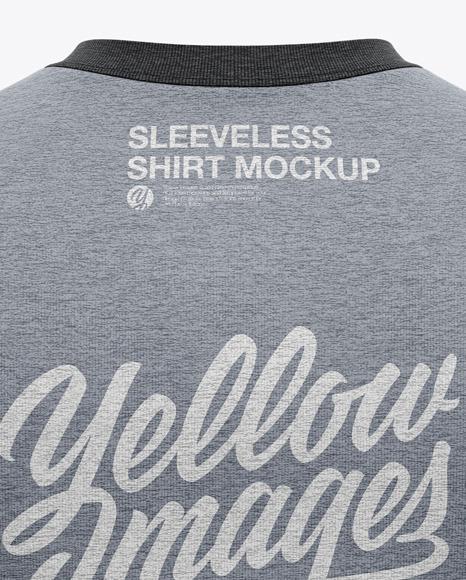 Men's Heather Sleeveless Shirt Mockup - Back View