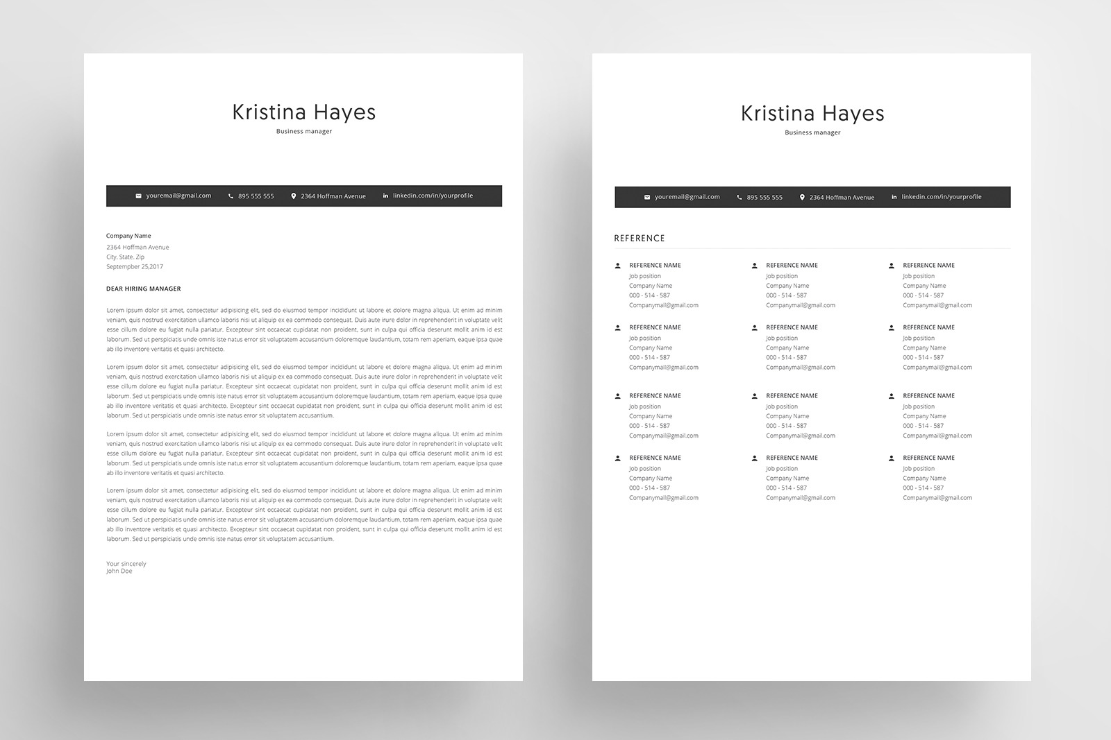 Resume Template and Cover Letter / 4 Pages CV