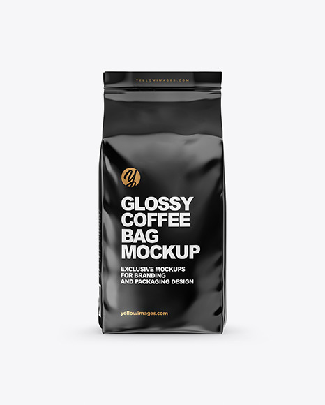 Download Glossy Coffee Bag Mockup In Bag Sack Mockups On Yellow Images Object Mockups PSD Mockup Templates