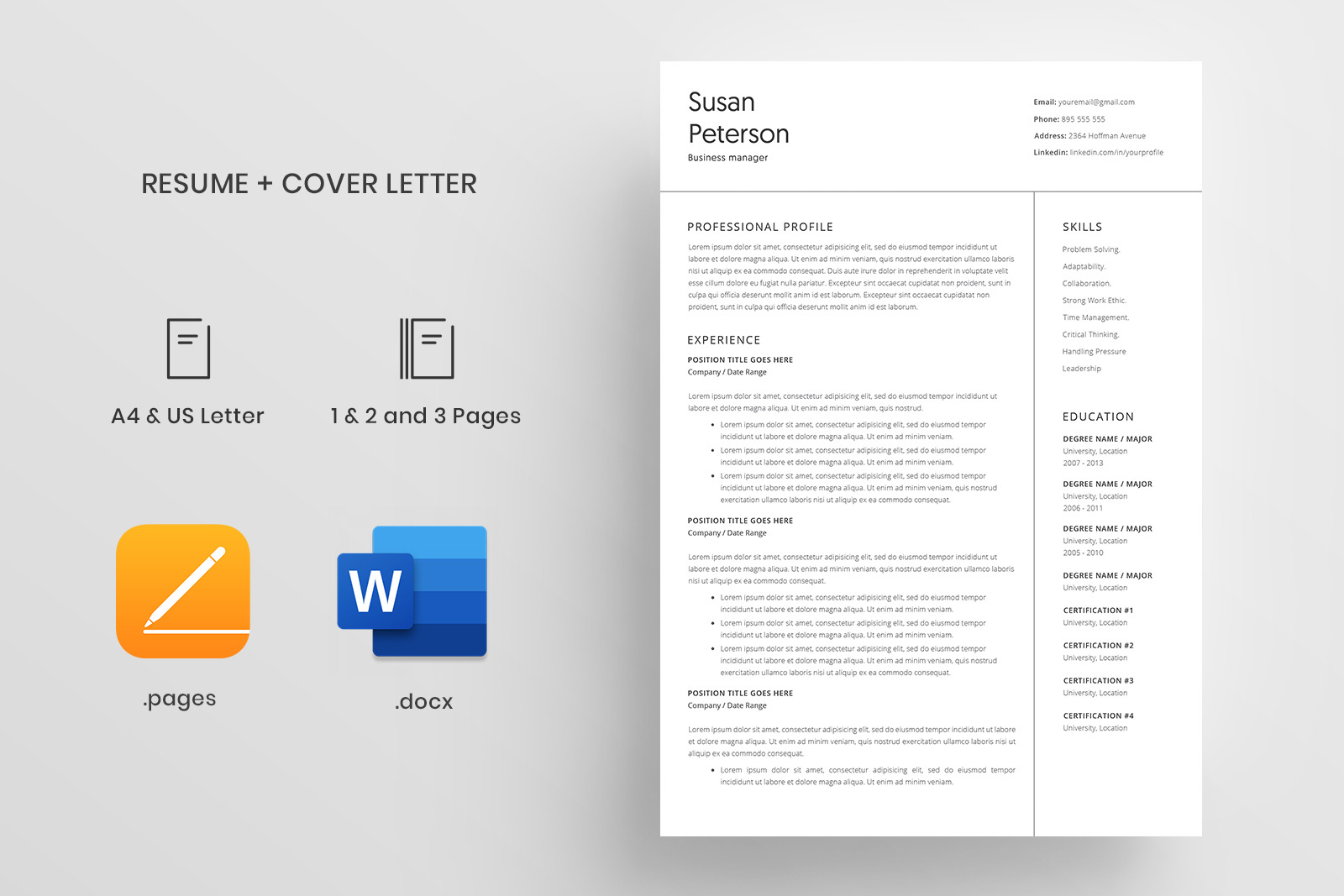 Resume Template And Cover Letter 4 Pages Cv In Resume