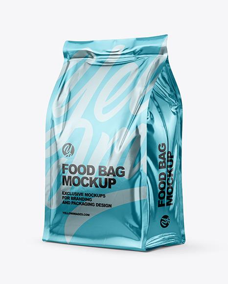 Glossy Metallic Food Bag Mockup